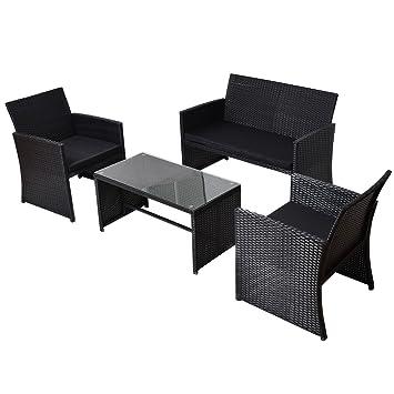 Amazon Tangkula 4 Piece Outdoor Wicker Furniture Rattan Sofa