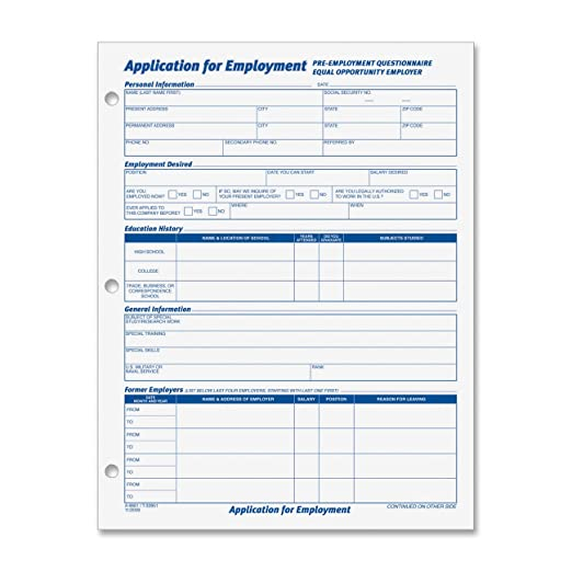 Amazon TOPS 8 12 x 11 Inch Employee Application 50 Sheet – Generic Application for Employment