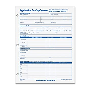 Amazon.Com: Tops 8 1/2 X 11 Inch Employee Application 50 Sheet