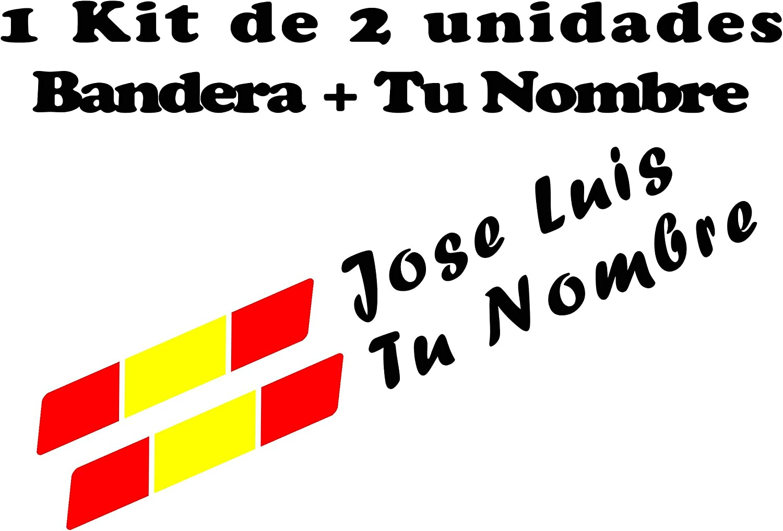 Pegatina Vinilo Bandera España + tu Nombre - Bici, Casco, Pala De Padel, Tablas Skate, Coche, Moto, etc. Kit de Dos Vinilos: Amazon.es: Hogar
