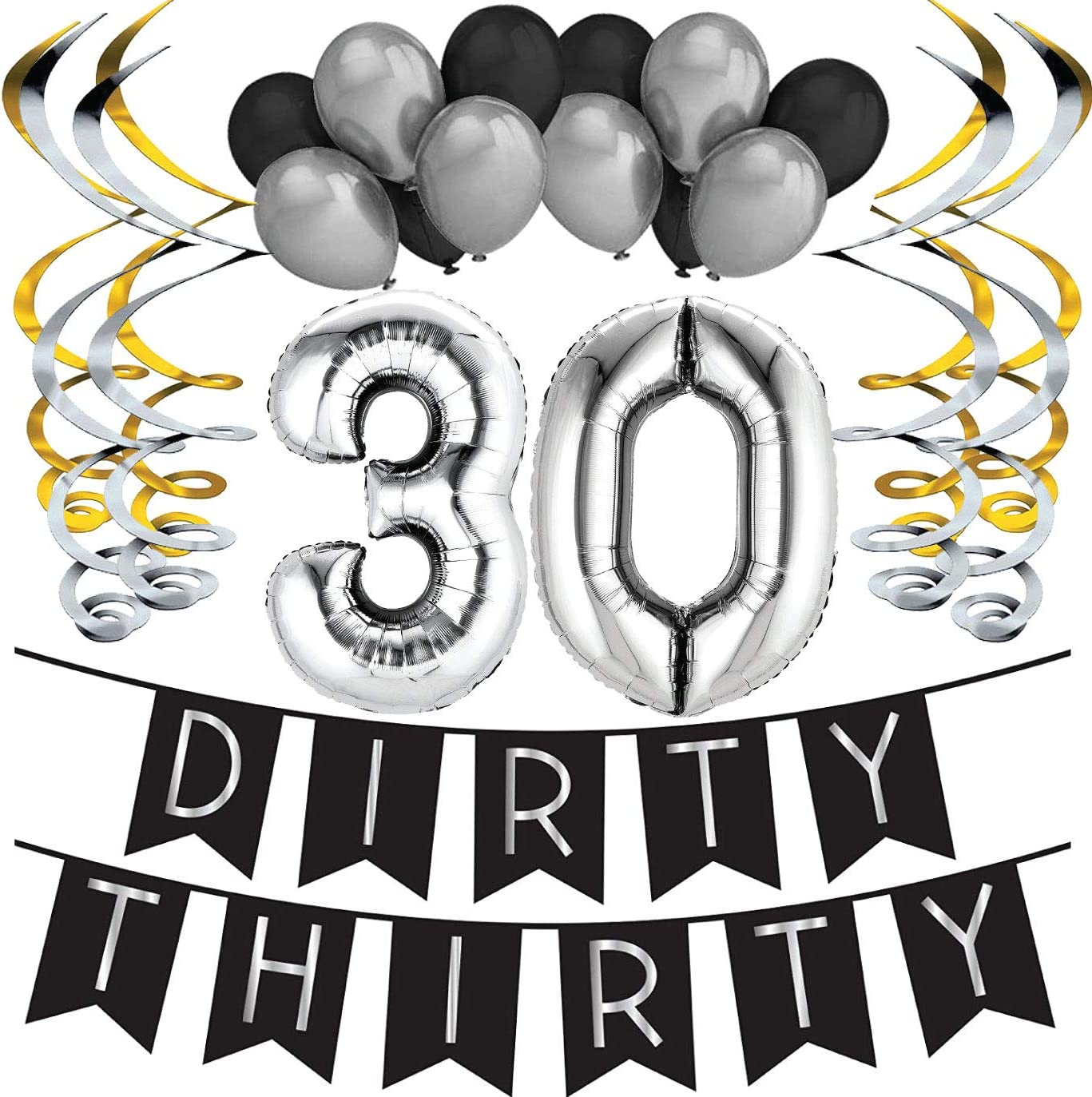 Sterling James Co. Dirty Thirty - 30th Birthday Party Pack - Black & Silver Happy Birthday Bunting, Poms, and Swirls Pack- Birthday Decorations - 30th Birthday Party Supplies