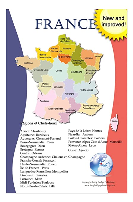 Amazon Com French Language School Poster Map Of France With