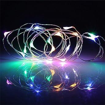 4f1bb403bee BUYERTIME 2M 6.5Ft 20 LEDs Cadena de Luces Impermeable Flexible de Alambre  de Plata