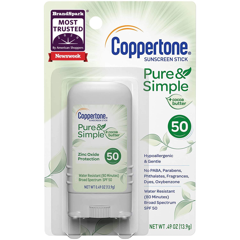 Coppertone Pure Simple Spf 50 Stick Sunscreen Mineral Sunscreen, White, 0.49 Ounce