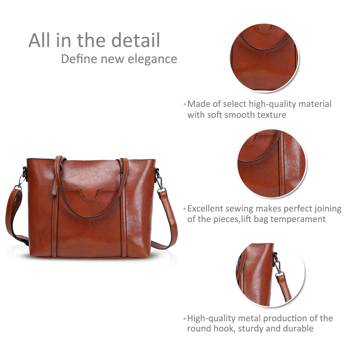 142bfa736d NICOLE DORIS New Tote Handbag Shoulder Bag Crossbody Bag Women Purse Large  Bag PU Leather Light Brown  Amazon.ca  Luggage   Bags