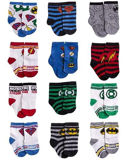 DC Comics boys Assorted Superhero Characters 12 Pair Socks Set