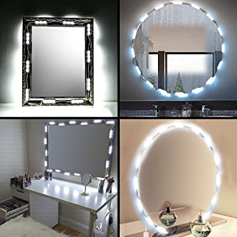 Led Vanity Mirror Lights 3m Sticker Diy Under Cabinet Lights Wardrobe Lights Dimmable Makeup Light 20 Strips 11ft Plug And Play Multi Use For Cupboard Stairs Storeroom Washroom Dressing Table Room Amazon Co Uk Lighting