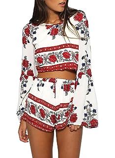 Futurino Women s 2 Pcs Floral Print Bohemian Crop Tops+Shorts Set Two Piece  Out 4cbc258b2