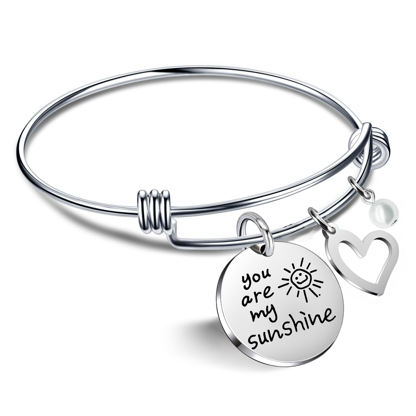 Bracelets for Women Valentine Gifts for Best Friends Family You are my sunshine Pearl Bangle lauhonmin AB093-CA