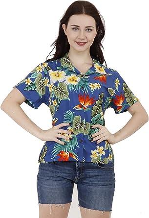 Alvish - Blusa hawaiana para mujer, diseño de flores de hibisco, para playa: Amazon.es: Ropa y accesorios