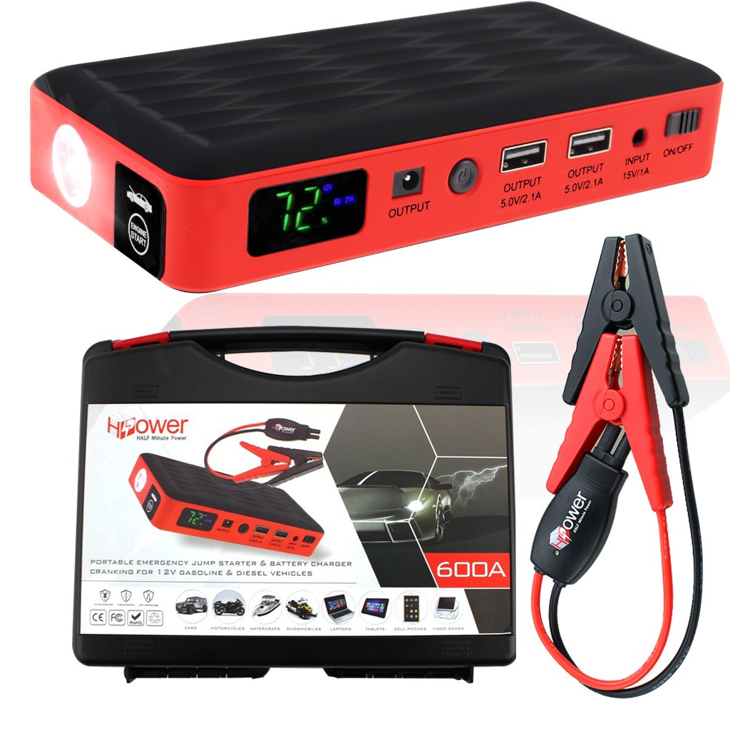 HALF Minute Power 600A Peak 35520mWh 12V Portable Car Battery Jump Starter Emergency Booster Charger and Auto Bank Power Pack with a Gift Ec-5 Cigarette Lighter Socket (Black/Red) by HALF Minute Power (Image #1)