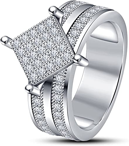 TVS-JEWELS 14k Gold Plated Engagement Band Ring for Womens Luxury Round Cut White Cubic Zirconia