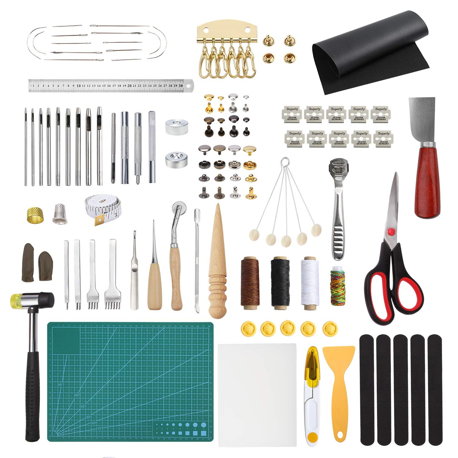 Dorhui Leather Working Tools and Supplies, 203 Pieces Practical Leather Tools Father's Day Gift, Leather Craft Stamping Tools, Prong Punch, Hole Hollow Punch, Matting Cut for Leather DIY