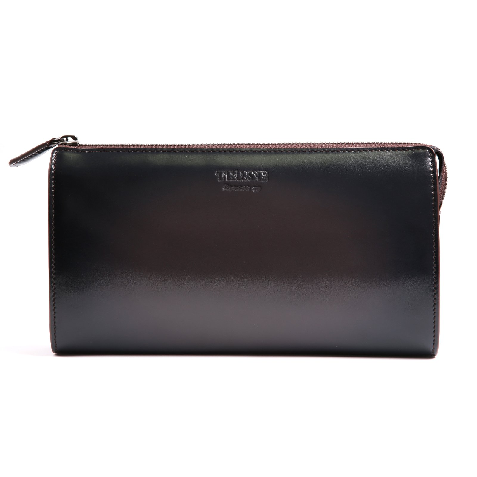 TERSE Men's Genuine Leather Clutch Bag Handmade Zipper Wallets Card Cash Holder Business Handbag Manual Brush-off (Grey) TS668A