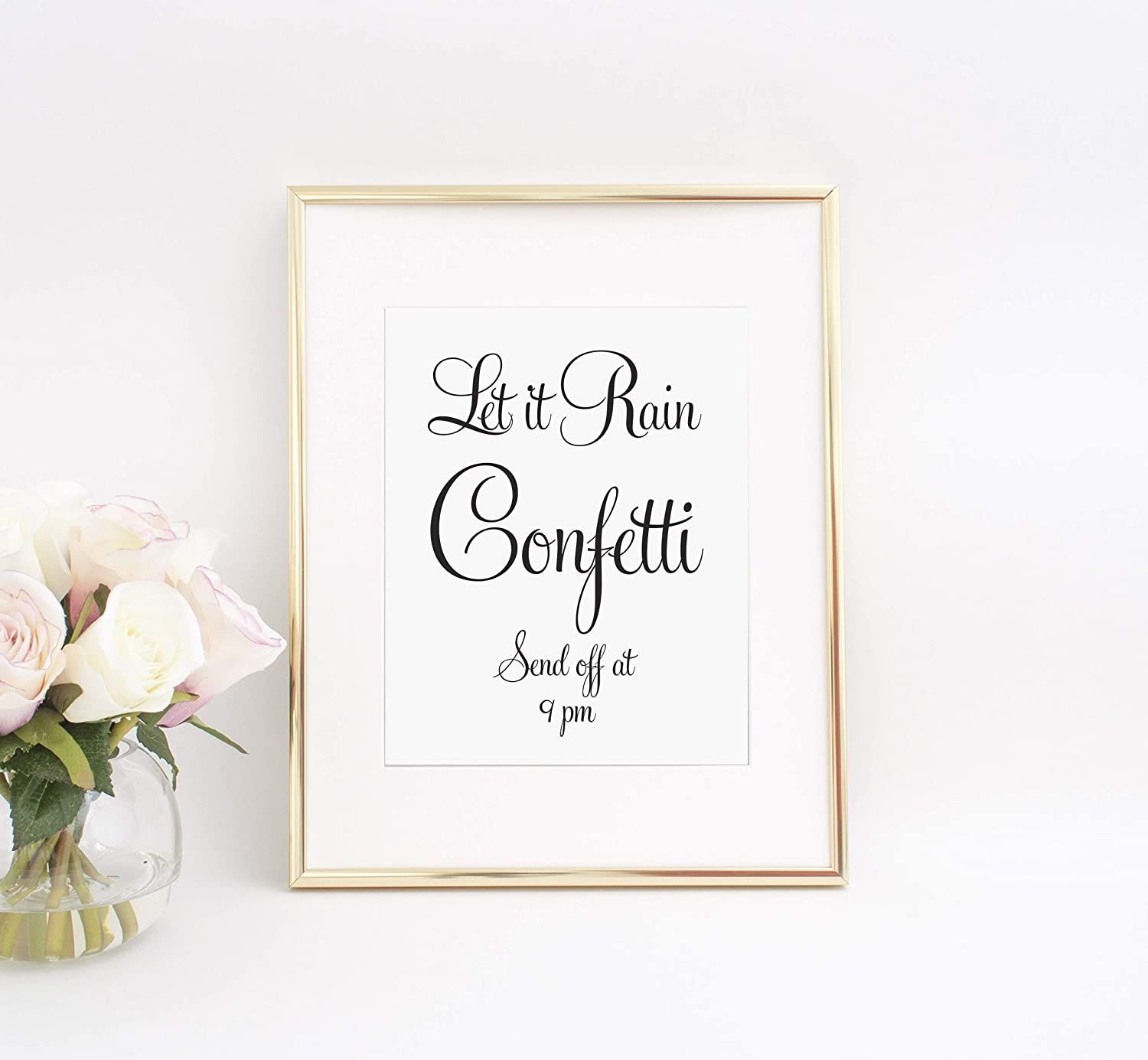 Wedding Send Off Sign Send Off Sign Wedding Confetti Sign Your Choice of Size and Color Print Sign Personalized Wedding Sign UNFRAMED Let it Rain Confetti Send Off Sign