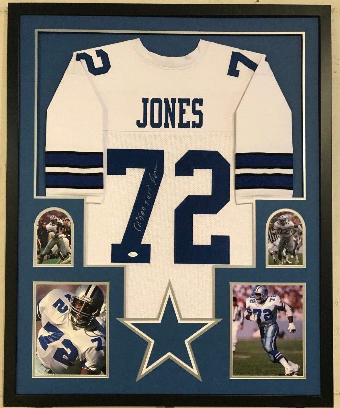 check out 646c3 79476 Framed Ed Too Tall Jones Autographed Signed Dallas Cowboys ...