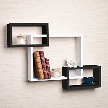 DriftingWood Wooden Intersecting Wall Shelves/Shelf for Living Room | Set of 3
