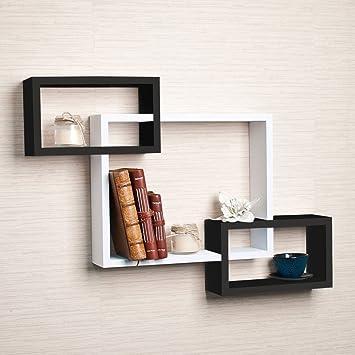 Driftingwood Wall Shelf Rack Set of 3 Intersecting Wall Shelves - Black & White