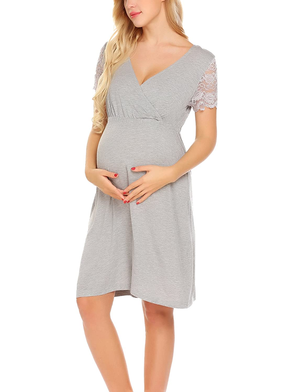 2984f9af1f67 Unibelle Vestito da maternità Donna Abito di maternità Abito in Pizzo Abito  di Gravidanza Scollo a