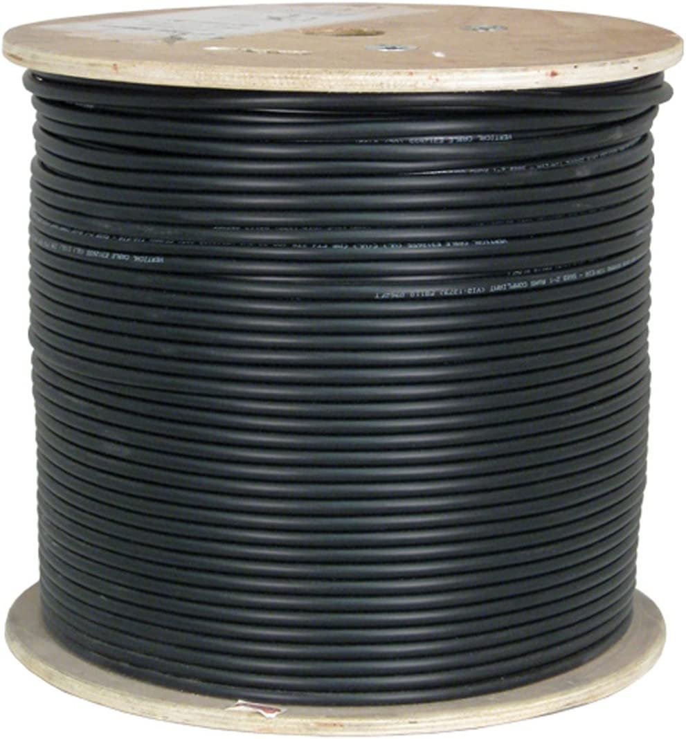 Black Vertical Cable CAT6A UV Rated Outdoor Bulk Cable 1,000ft