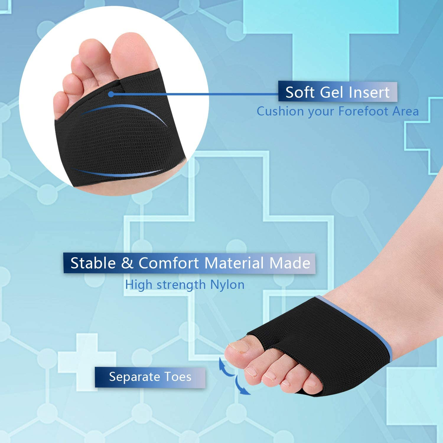 Metatarsal Sleeve Pads with Forefoot Gel Pads - 2 Pairs - Ball of Foot Cushion for Relieve Metatarsalgia Mortons Neuroma Diabetic Feet Pain (Black- M (Women's Size 5-7.5)): Health & Personal Care