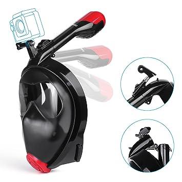 Máscara de Buceo, HOMPO 180 Grados de Vision Diseño de Cara Completa Gafas Buceo Snorkel