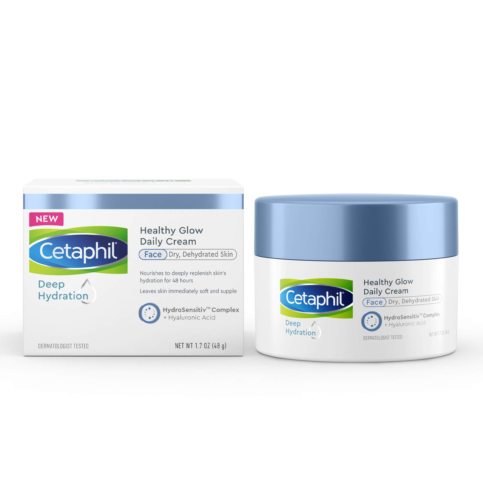 CETAPHIL Deep Hydration Healthy Glow Daily Face Cream   1.7 oz   48 Hour Dry Skin Face Moisturizer for Sensitive Skin   With Hyaluronic Acid, Vitamin E & Vitamin B5   Dermatologist Recommended