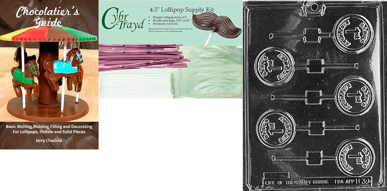 Cybrtrayd 45St50-K054 Happy Birthday Pop Kids Chocolate Candy Mold with 50 Cybrtrayd 4.5-Inch Lollipop Sticks