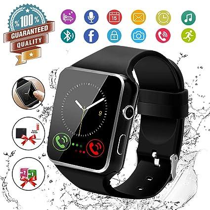 Smart Watch,Bluetooth Smartwatch Touch Screen Wrist Watch with Camera/SIM Card Slot,Waterproof Smart Watch Sports Fitness Tracker Android Phone Watch ...