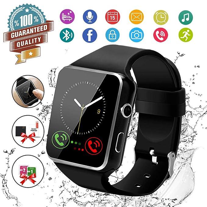 Smart Watch,Bluetooth Smartwatch Touch Screen Wrist Watch with Camera/SIM Card Slot,Waterproof Phone Smart Watch Sports Fitness Tracker Compatible ...