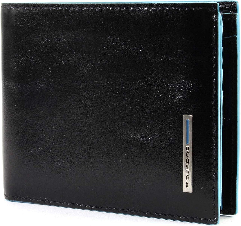 PIQUADRO BLUE SQUARE CLASSIC Wallet RFID portafoglio Nero Nero Nuovo