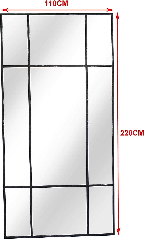 H 180* B 90* T 3cm aus Metall lang Rechteckiger Ankleidespiegel | Garderobenspiegel gro/ß Schwarz Silber Standspiegel Ganzk/örperspiegel | Designed in D/änemark vertikal//horizontal stehend