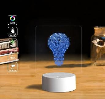 3D Illusion LED Night Light Lamp, Circuit diagram bulb Home Bedroom ...