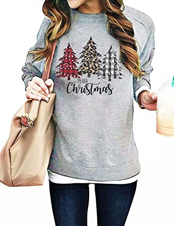 Womens Round Neck Christmas Leopard Plaid Christmas Tree Print Casual Sweatshirt Pullover Long Sleeve Tops for Girls