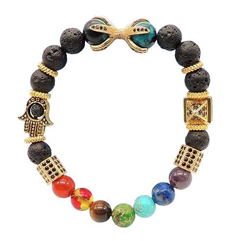 Lava stone pendant Black Hexagon Semi precious Chakra Mala Reiki stone