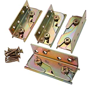SUNVORE Bed Rail Bracket - Bed Rail Fittings - Heavy Duty Non-Mortise - Set of 4 (Screws Included)