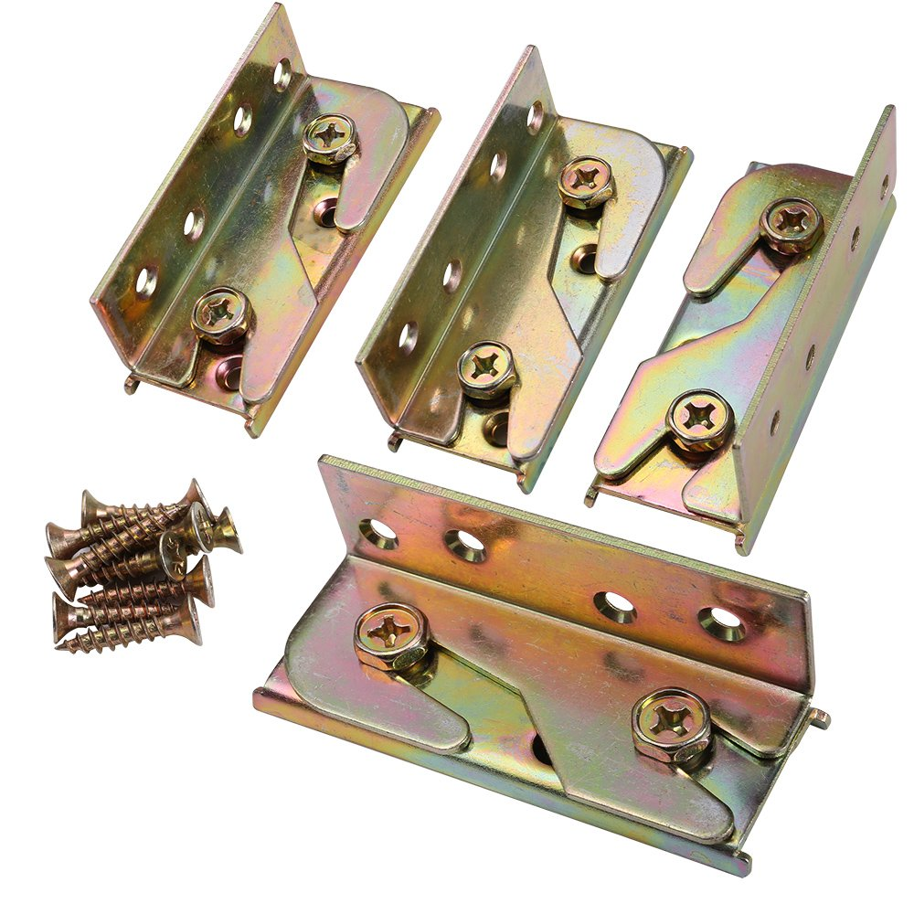 Bed Rail Bracket - SUNVORE Bed Rail Fittings - Heavy Duty Non-Mortise - Set of 4