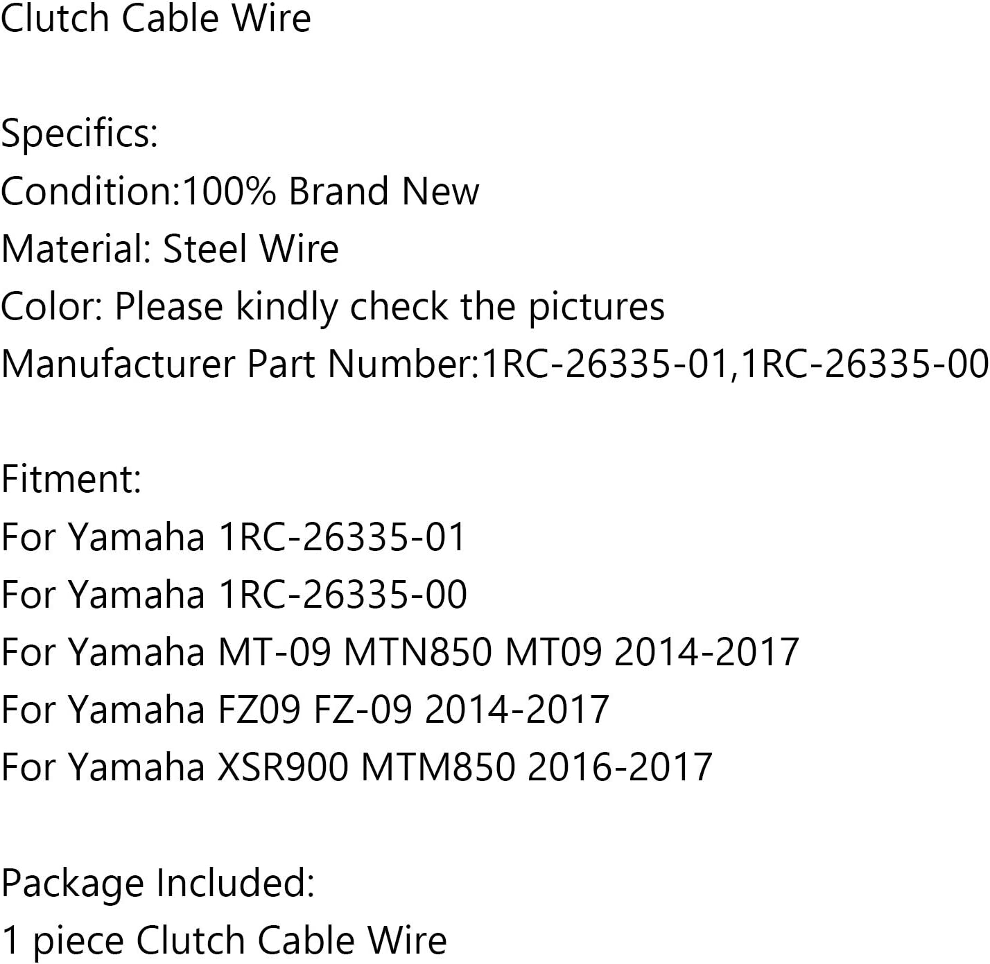 Areyourshop Motorcycle Clutch Cable 1RC-26335-01 for Yamaha MT-09 FZ-09 MTN850 2014-2017