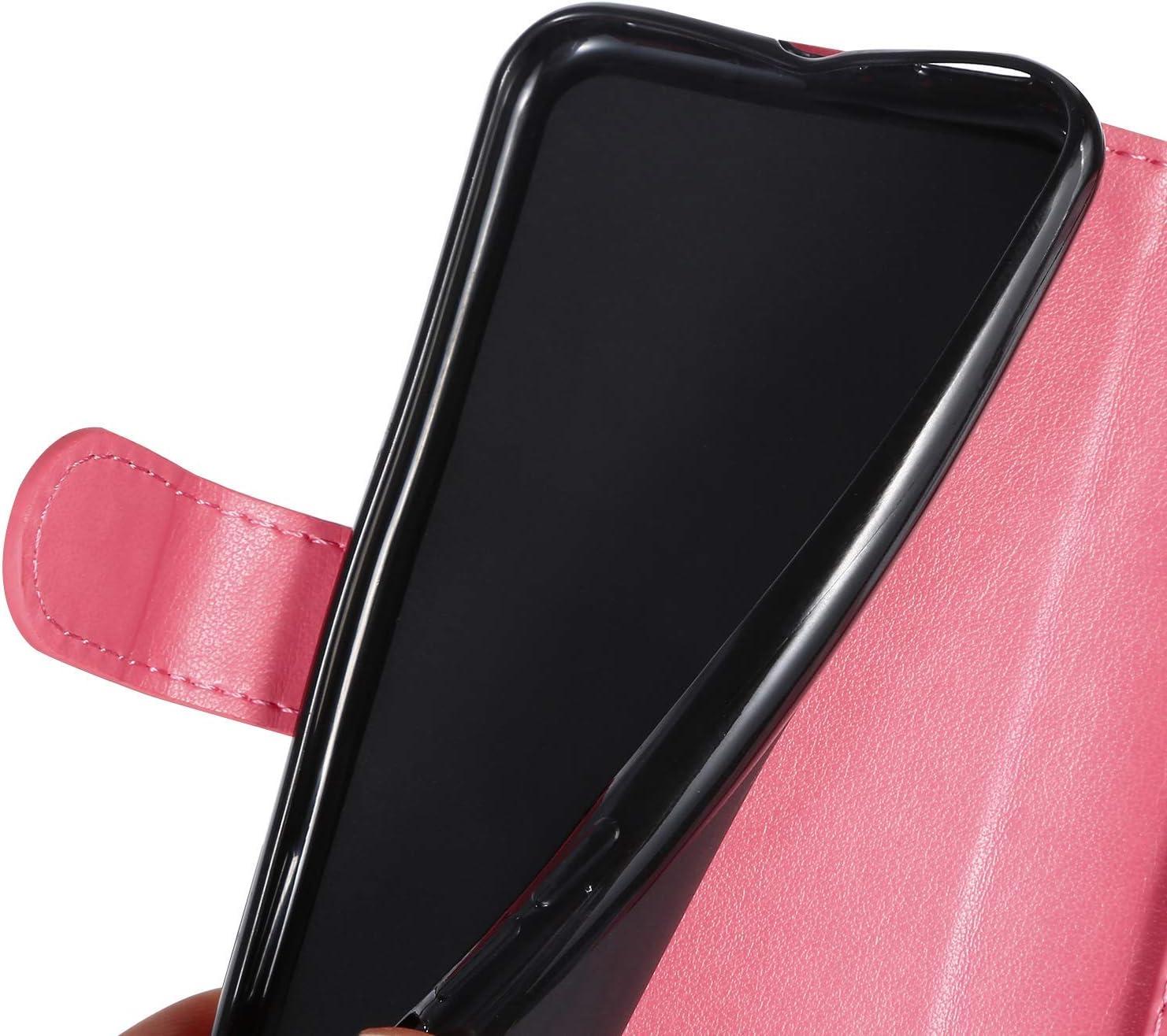 Saceebe Compatible avec iPhone 7 iPhone 8 4.7 Coque Portefeuille /Étui Housse Cuir Rabat Flip Case Papillon C/œur Ours Motif Livre Wallet Coque de Protection Clapet Folio /Étui Anti Choc,Rose