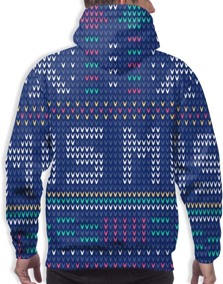DUDBFGG Winter Holiday Xma Blue Flake Snow Men Lightweight Hooded Sweatshirt Causal Sport Hoodie