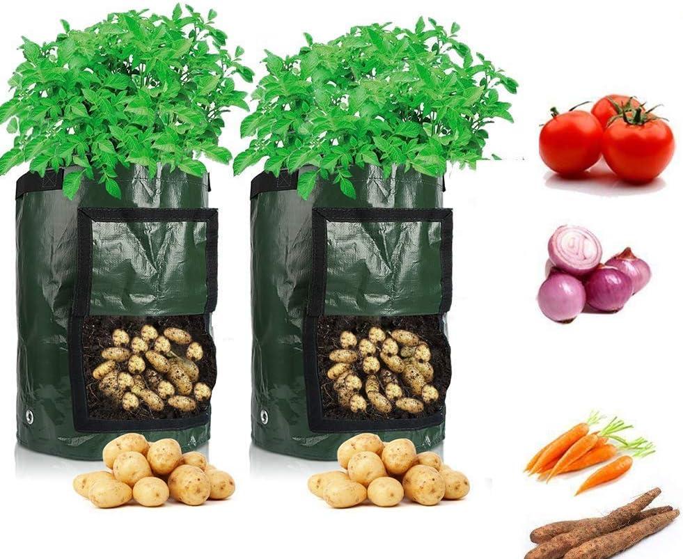 Cefrank - 2 bolsas para cultivo de patatas hechas con tela duradera, y con solapa y asa. 35 cm x 45 cm, 70 l