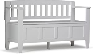 SIMPLIHOME Brooklyn SOLID WOOD 48 inch Wide Entryway Storage Bench with Safety Hinge, Multifunctional, Contemporary, in White