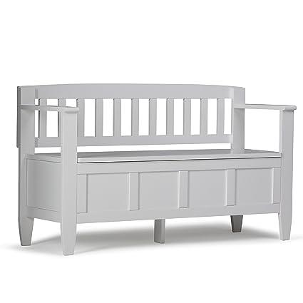 Charmant Simpli Home Brooklyn Solid Wood Entryway Storage Bench, White