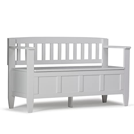 Outstanding Simpli Home 3Axcbroben Wh Brooklyn Solid Wood 48 Inch Wide Contemporary Entryway Storage Bench In White Gmtry Best Dining Table And Chair Ideas Images Gmtryco