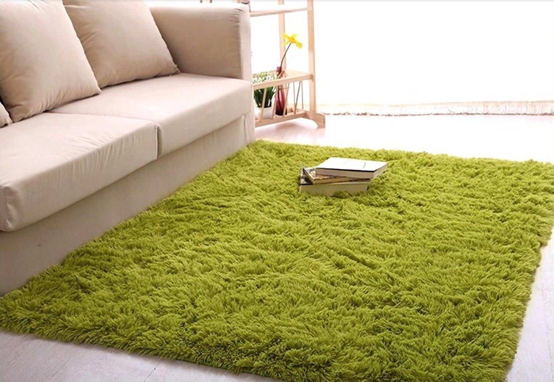 Newrara Super Soft 4.5 Cm Thick Modern Shag Area Rugs Living Room Carpet Bedroom Rug for Children's Play Rug Floor Rug Nursery Rug 4 Feet By 5 Feet (Grass Green)