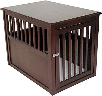 Crown Pet Products Pet Crate Wood Dog Crate Furniture End Table, Medium  Size With Espresso