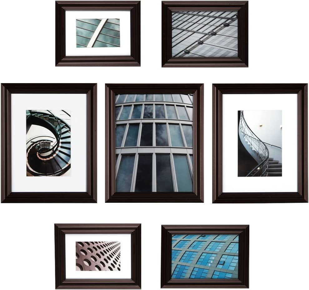 Gallery Perfect 7 Piece Walnut Photo Frame Gallery Wall Kit With Decorative Art Prints Hanging Template Home Kitchen