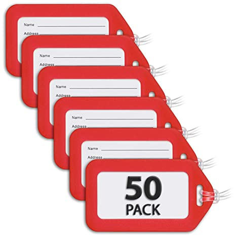 7910a3a5e55a MIFFLIN Luggage Tags (Red, 50 PK), Bag Tag for Baggage, Suitcase Tags Bulk