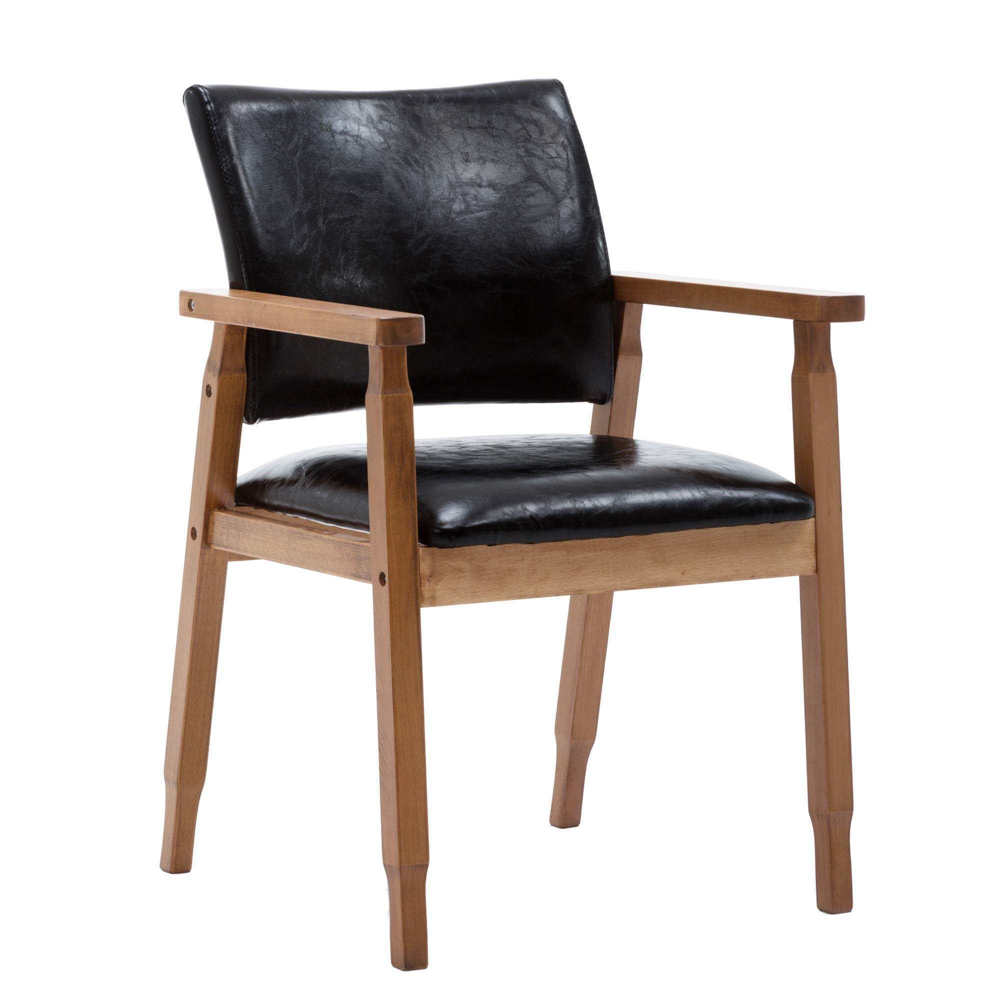 NOBPEINT Mid-Century Dining Side Chair with Faux Leather Seat in Black, Arm Chair in Walnut
