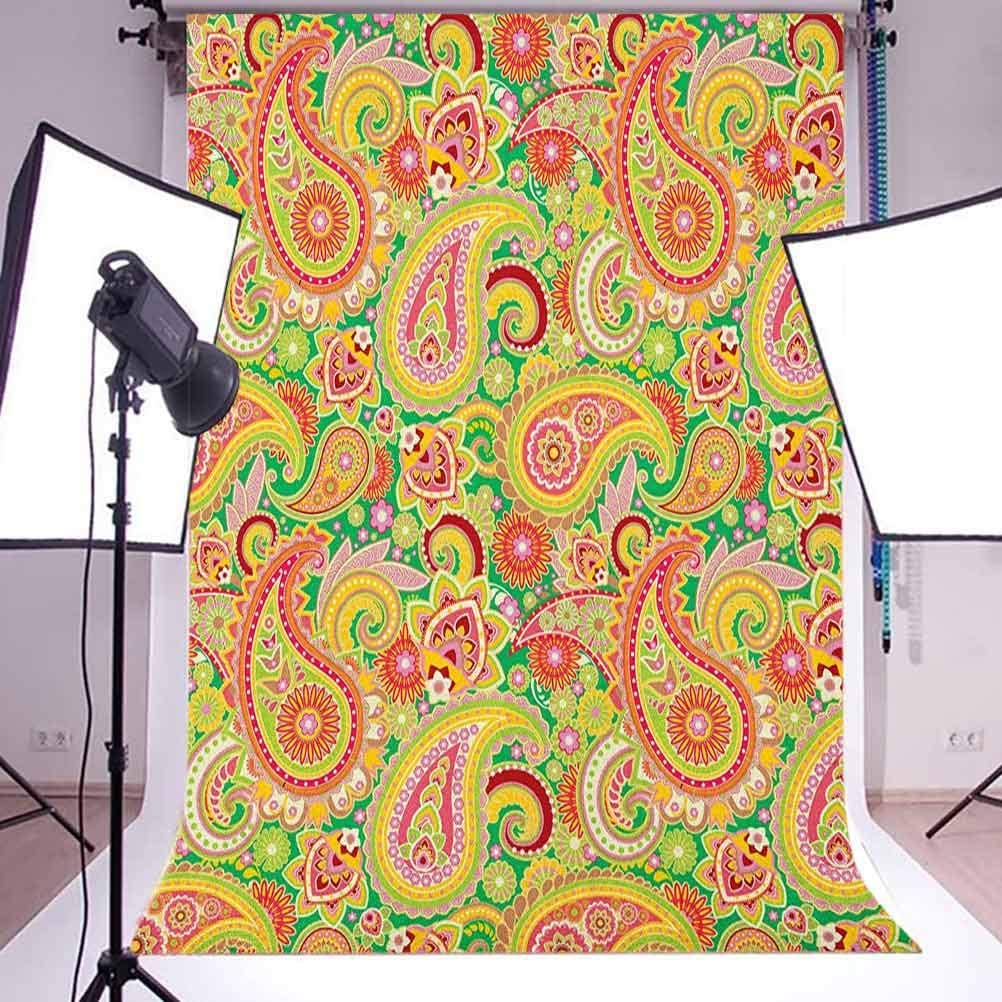 7x10 FT Paisley Vinyl Photography Background Backdrops,Traditional Persian Paisley Pattern Print with Elements Vintage Background for Photo Backdrop Studio Props Photo Backdrop Wall